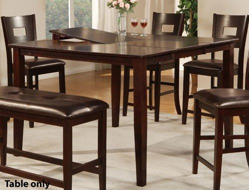 Counter Height Dining Table with Butterfly Leaf in Dark Brown Finish (Pottery Barn Bench Table)