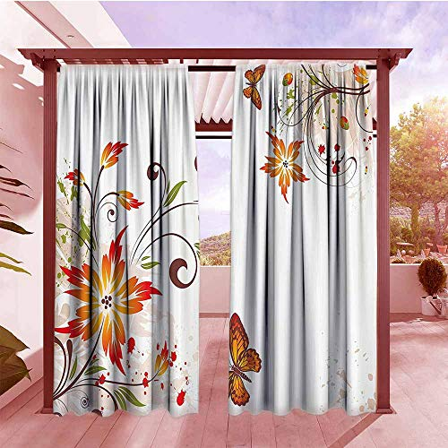 DGGO Indoor/Outdoor Top Curtain Floral Spring Themed Swirled Flowers Leaf and Butterfly Nature Foliage Elegance Motif Outdoor Privacy Porch Curtains W72x96L Peach Vermilion ()