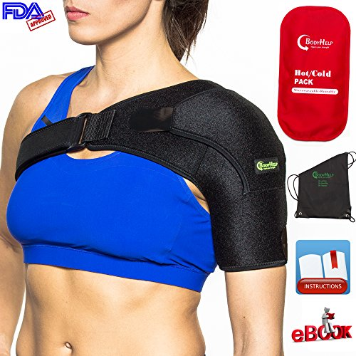 BODY HELP Shoulder Brace Support with Pressure Pad + Hot Cold Reusable Pack for Immediate Pain Relief + Bag + Ebook + Instructions Best Wrap for Rotator Cuff, Dislocated AC, Sprain, Soreness, Bursitis (Body Brace)