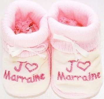 090af567532c3 chaussons bébé brodés j aime marraine coeur rose blanc  Amazon.fr ...
