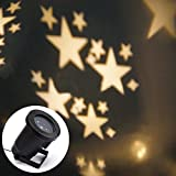 Locisne Waterproof Landscape Led Projection Light Outdoor, Christmas Projector Lamp Moving star,Holiday,Garden Tree,Halloween,Party Wall Decoration RGB Light(stars warm white)