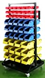 GHP Set of 90 Red/Blue/Yellow Bins Tools Movable Rolling Storage Organizer w Wheels