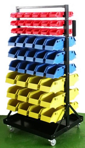 GHP Set of 90 Red/Blue/Yellow Bins Tools Movable Rolling Storage Organizer w Wheels by Globe House Products