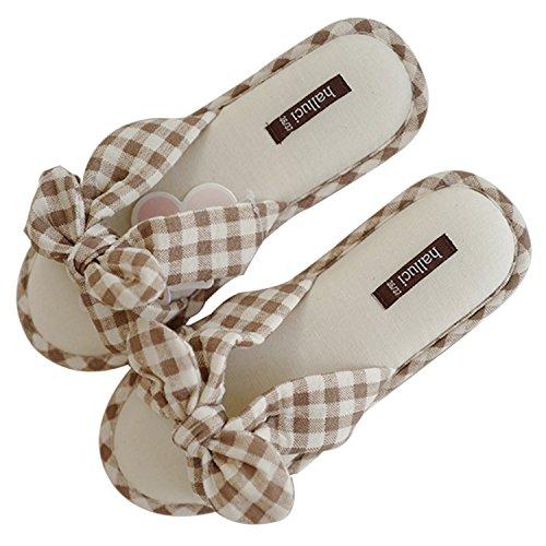 Plaid Slip Shoes (Women's Cozy Linen Memory Foam House Slippers w/Non Slip Soles (5-6 B(M) US, Plaid Pattern))