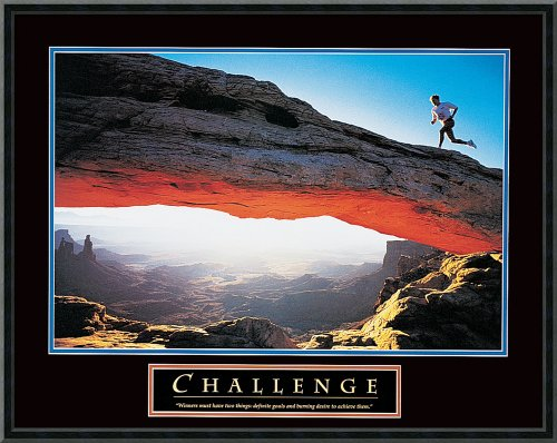 Challenge Framed Motivational Print (Framed Art Print, Challenge: Runner': Outer Size 29 x 23)