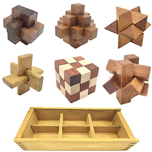 Guaishou 6-in-One 3D Luxury Wooden Brain Puzzle Teaser Kongming Lock for Teens and Adults Includes Storage - Set Wooden Box Puzzle