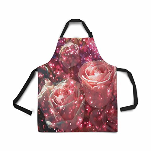 - InterestPrint Abstract Bouquet Rose Flower with Glitter Apron Kitchen Cook for Women Men Girls Chef with Pockets, Colorful Space Funny Adjustable Bib Baking Paint Cooking Apron Dress