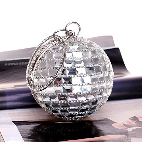 Women Handbag Bag Silver Bag Diamante for Bridal Shoulder Glitter Evening Clutch Flada Wedding Spherical Purse Silver UZxnzddR
