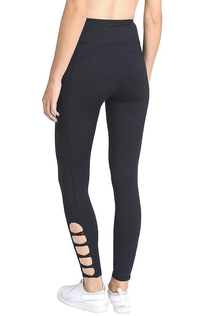 Aph1660_black Mono B Women's Performance Activewear  Yoga Leggings with Sleek Contrast Mesh Panels Black