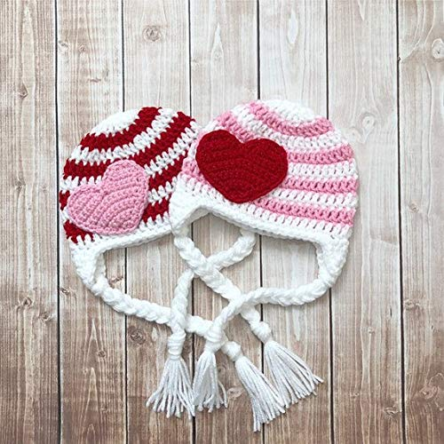 (Valentine's Day Stripe Heart Beanie in White, Red and Baby Pink Available in Newborn to Adult Size- MADE TO ORDER)