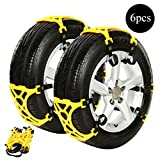 #8: Anti Snow Chains of Car, Car Snow Tire Chain, Easy To Install Car Tire Emergency Thickening Anti-Skid Chain, Fit for Most Car/SUV/Truck - Set of 6