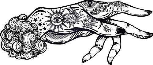Magnet Pretty Tattoo Magic Witch Craft Boho Hand Art - Black and White Vinyl Magnet (2