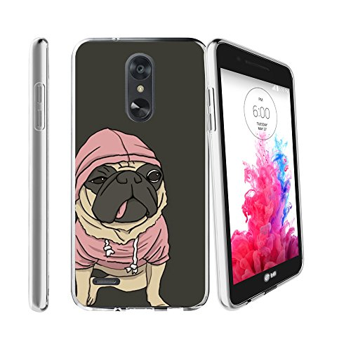 Clear MINITURTLE Case Compatible with LG Rebel 3 / Aristo 2 / Zone 4 / Tribute Dynasty (X210)[Flex Force Cute Pet Series][Clear & Flexible Gel Case Cover] - Hoody Pug
