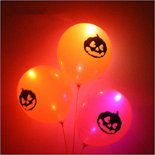 Orange Pumpkin Halloween LED Light Up Balloons Flashing Light Colorful colors for Christmas/Birthday/Wedding Party Inflate with Air and/or (Air Max Halloween Pack)