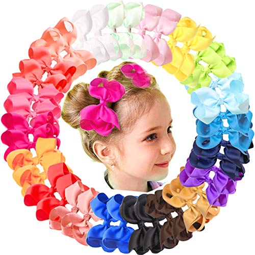 "40Pcs 4.5"" Hair Bows Alligator Clips Grosgrain Ribbon Big Bows Clips For Girls Toddlers Kids Teens Children 20 Colors In Pairs from JOYOYO"