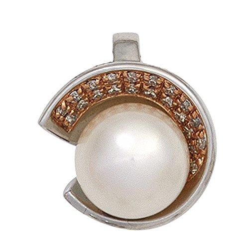 JOBO pendentif en or blanc 585 ornée d'une perle avec diamants brillants 21