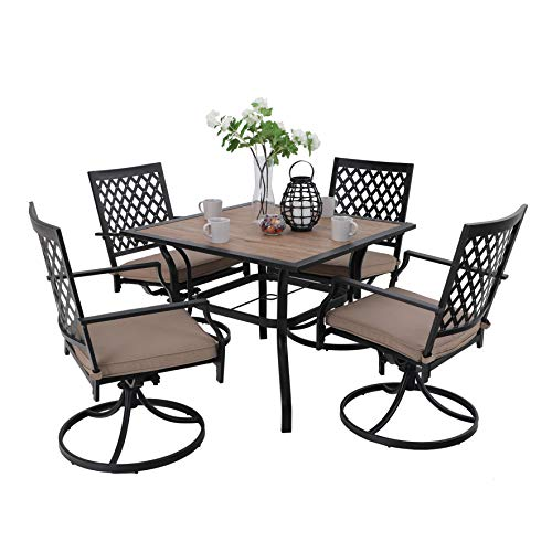PHIVILLA Patio Dining Set 5 Pieces 1 Wood Like Square Garden Umbrella Table and 4 Swivel Chairs Support 300 lbs for Ourdoor Backyard Bistro Furniture Set with Cushion