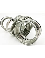 Premium Stainless Steel Rust Resistant Srew Bands / Rings for Mason, Ball, Canning Jars (10 Pack, Wide Mouth)