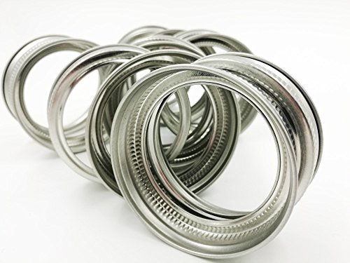 Premium Stainless Steel Rust Resistant Srew Bands / Rings for Mason, Ball, Canning Jars (10 Pack, Wide Mouth) by Afresh Jar