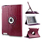 Revesun Purple 360 Degrees Rotating Crocodile Pattern Leather Smart Cover Case Stand for ipad mini 2 ipad mini2 Apple iPad Mini 7.9'' Tablet