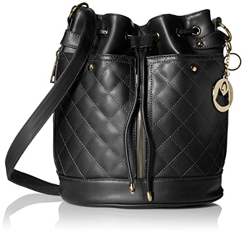 MG Collection EVA Quilted Drawstring Bucket Shoulder Bag, Black, One Size