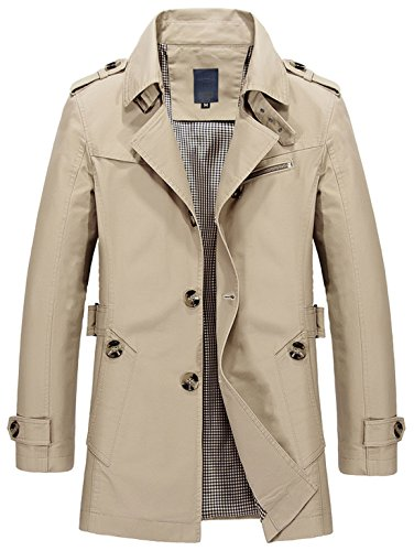 Collar Men's Lightweight Fit 1306 Single Coat beige Breasted Trench Chouyatou Slim Lapel qEwCOSSa