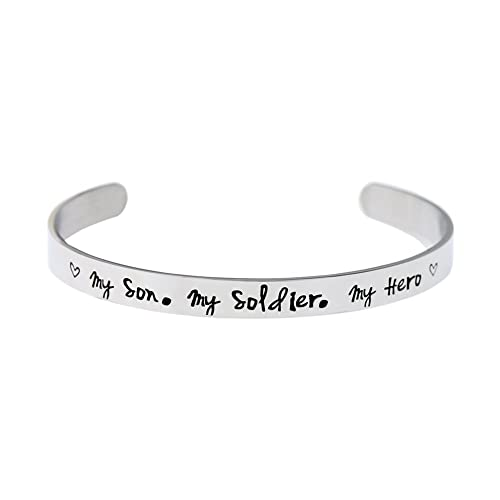 953b666a75a Amazon.com: O.RIYA My son my soldier my hero Bracelet (White): Jewelry