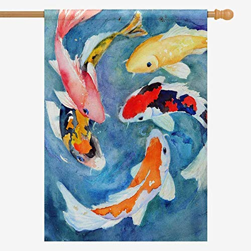 InterestPrint Decorative Flag Watercolor Oriental Colorful Koi Goldfish House Flag House Banner for Wishing Party Wedding Yard Oxford Cloth Home Decor 28