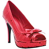 4 Inch Sexy Platform Peep Toe Shoes Red Sequins Ruby Slippers Costume Size: 7
