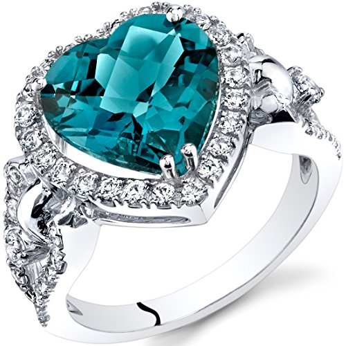 London Blue Topaz Heart Shape Halo Ring in 14K White Gold (4.00 carat)