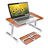 Neetto Adjustable Laptop Table, Portable Standing Bed Desk, Foldable Sofa Breakfast Tray, Notebook Stand Reading Holder for Couch Floor - Minitable American Cherry