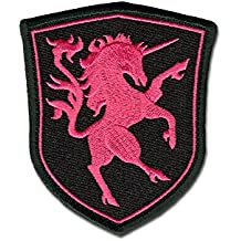 Bastion Tactical Combat Badge Military Hook and Loop Badge Embroidered Velcro Morale Patch - Pink Unicorn