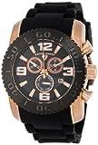 Swiss Legend Men's 20067-RG-01-BB Commander Chronograph Black Dial Black Silicone Watch