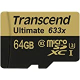 Transcend 64 GB MicroSDXC Class 10 UHS-I/U3 Memory Card with Adapter 95 Mb/s (TS64GUSDU3)