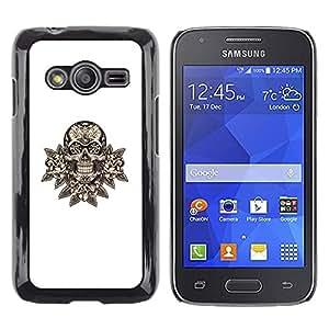 Be Good Phone Accessory // Dura Cáscara cubierta Protectora Caso Carcasa Funda de Protección para Samsung Galaxy Ace 4 G313 SM-G313F // skull floral minimalist white death rock
