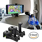 AYUQI Car Hooks Headrest Hangers Car Front Back Seat Hooks with Phone Holder, 2 in 1 Universal Vehicle Car Seat Hanger Holder Hook for Hanging Purse, Bag, Cloth, Grocery (Black - Set of 2)