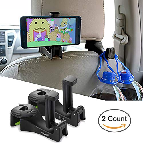 AYUQI Car Hooks Car Back Seat Hooks with Phone Holder, 2 in 1 Universal Vehicle Car Headrest Hooks Hanger with Lock for Hanging Purse, Bag, Cloth, Grocery (Black - Set of 2)