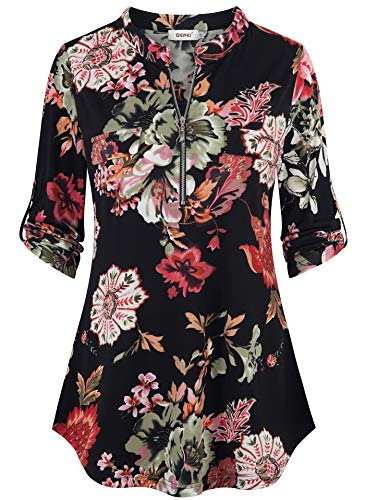 - BEPEI Womens Tunics 3/4 Sleeves,Juniors Lightweight Zipper Henley V Neck A Line Chiffon Tops Chic Classy Soft Tee Shirt Pocket Button up Decoration Blouses Floral Boutique Clothing Black Green XL
