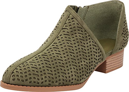 86ff266c16a Cambridge Select Women s Closed Toe Geometric Laser Side Cutout Shootie Chunky  Stacked Mid Heel Ankle Bootie