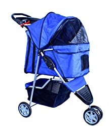 New Deluxe Folding 3 Wheel Pet Dog Cat Stroller Carrier w Cup Holder Tray - Blue