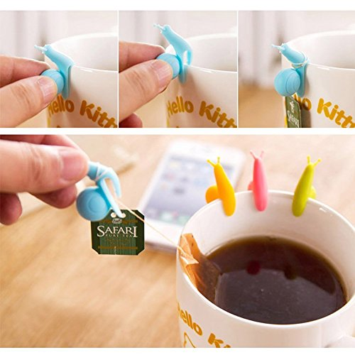 (vanki New 5/10/20/50pcs Cute Snail Shape Silicone Tea Bag Holder Cup Mug Candy Colors Gift Set (10))