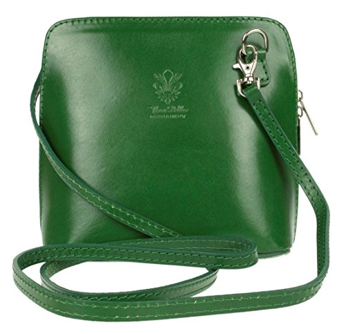 - Ladies Fashion Small Square Vera Pelle Italian Leather Cross Body Shoulder Bags (Green)