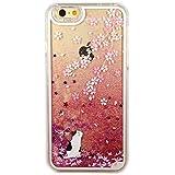 Cover iPhone 5/5S/SE, TrendyBox Flowing Liquido Case Cover per iPhone SE 5S 5 + Vetro Temperato Pellicola Protettiva + Gufo Cinghia Telefono (Fiori Di Ciliegio e Gatto Bianco)