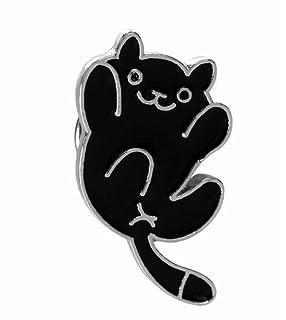 Upstudio Distintivi di Gioielli di novità Accessori per Abbigliamento Distintivo per Spille Super Cute Cat (Nero)