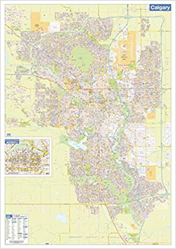 Calgary Wall Map Street Detail Large 38 X 54 Inches Paper