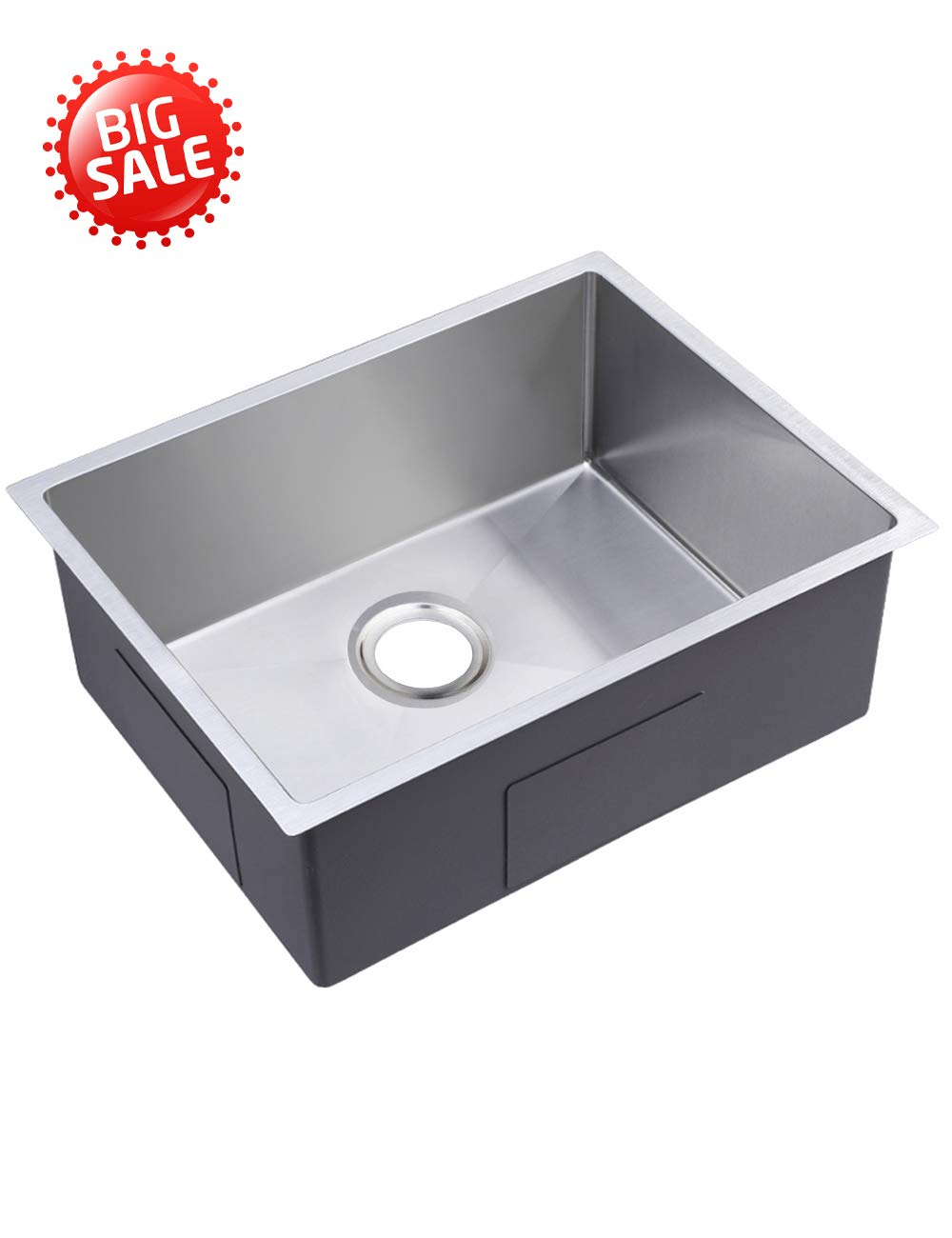 30'' Large Space Kitchen Sink Handmade Stainless Steel Sink 18 Guage, Single Bowl, Under Mount Kitchen Sink with Rollup Dish Rack (30'')