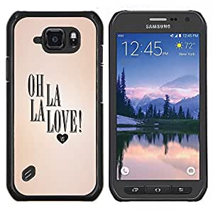 EJOOY---Cubierta de la caja de protección para la piel dura ** Samsung Galaxy S6Active Active G890A ** --Valentines texto La del amor del corazón del melocotón