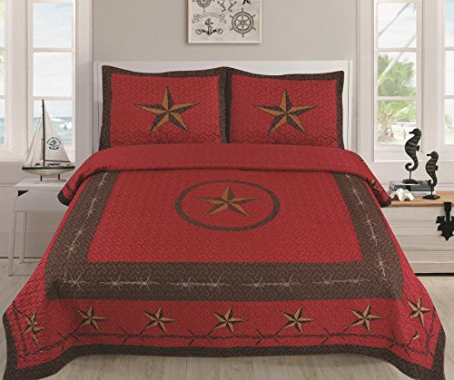 Linen Mart Western Rustic Star Barbed Wire Cowboy Quilt BedSpread - 3 Piece Set (Burgundy, Queen)