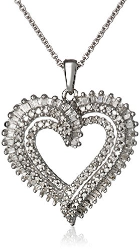 Sterling Silver Diamond Double Heart Pendant Necklace (1/2 cttw), 18""