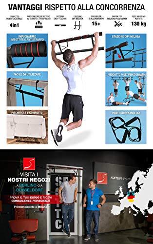 Sportstech Occasione Unica! Barra trazioni 4in1 Inclusive Dip Bar & Power Ropes, Sbarra per Porta Pieghevole KS500… 5 spesavip